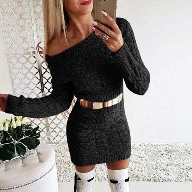 New 2021 Autumn Winter elegant knitted Sweater Dress Women black white Sweater dress Sexy solid ladies winter Sweater Dress 4