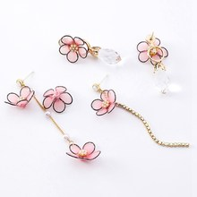 Drop Crystal Earrings Flower Drop Cherry Long Student Earrings Romantic Cherry Blossoms Pink Girl Heart Sweet Earrings(China)