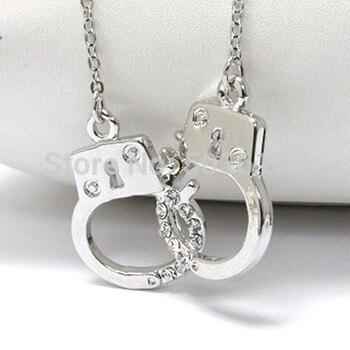 Moda handcuff pingente colar strass charme colares ródio chapeado 3.5mm uma peça xy111