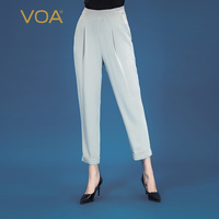 VOA light grey heavyweight silk 41 mm elastic back waist slant bag Yuke pleated small feet understanding pants K955