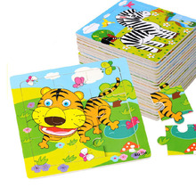 Wooden Puzzle Educational-Toy Children's Toys Jigsaw-9pieces Animal Early-Childhood Slice