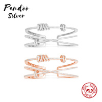 Fashion Charm Sterling Silver Copy 1:1 Copy,Pink And Silver Double 'X' Cuff With Mini Rings Women Monaco Jewelry Gift With Logo