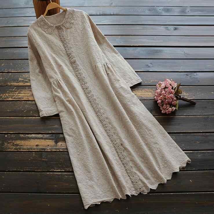 מורי ילדה 2019 בציר נשים שמלת כותנה רקמת תחרה ארוך שרוול שמלת סתיו אופנה רופף גלימת YoYiKamomo