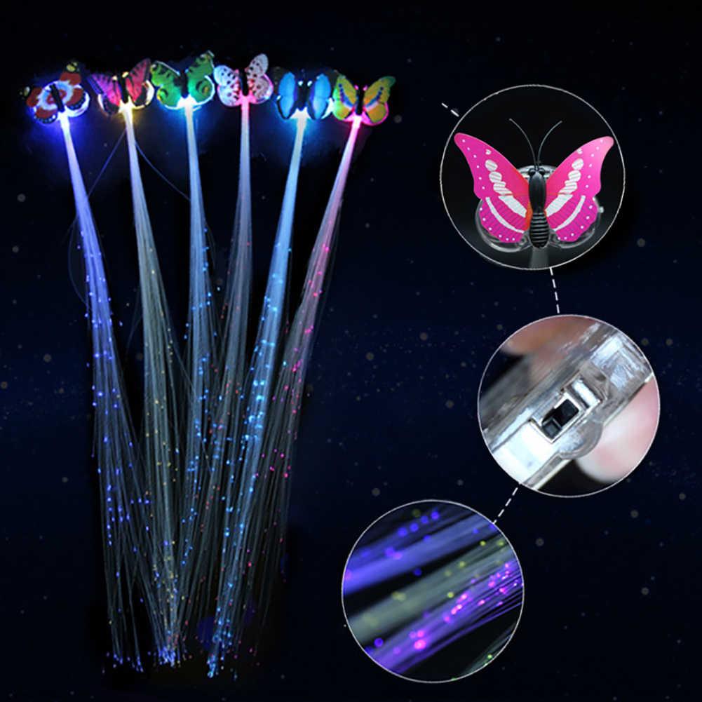 LED saç örgü yanıp sönen Led ışık Up kelebek saç tokası örgü Fiber optik saç tokası parti dekor için parlayan LED parti malzemeleri