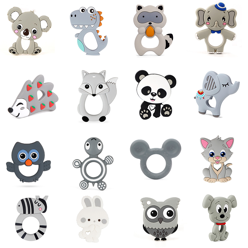 BPA Free Silicone Teethers  Food Grade Tiny Rod DIY Teething Necklace Baby Shower Gifts Cartoon Animals Teether Baby Gift