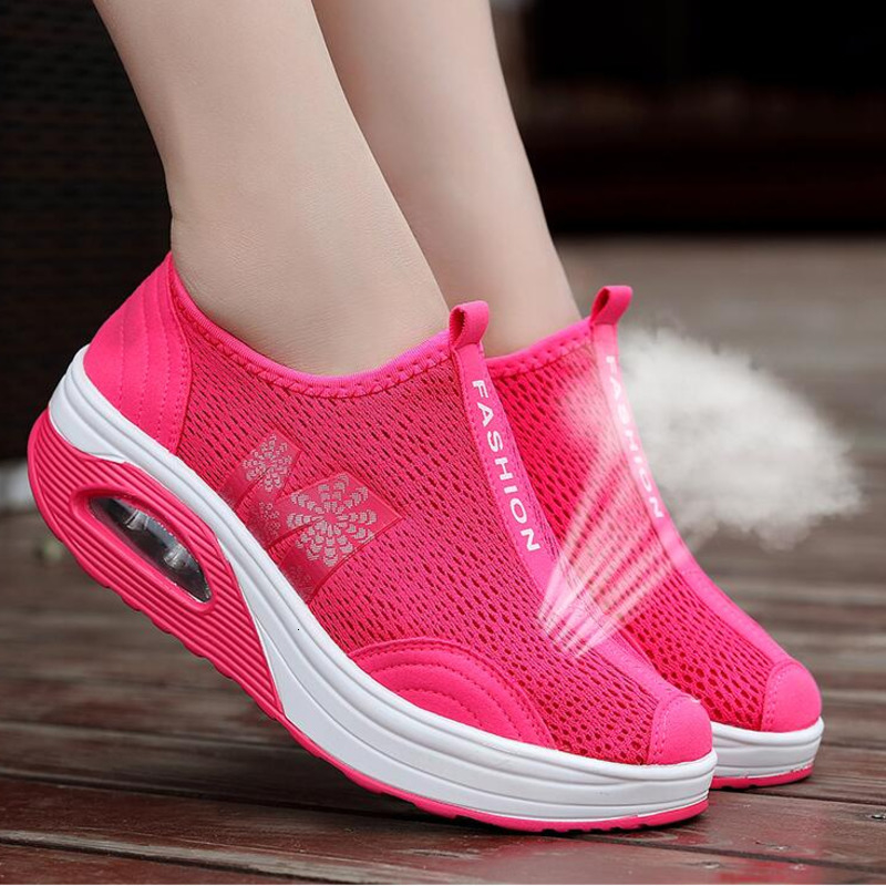 Air Cushion Wedge Sneakers Women Thick Bottom Summer Swing Shoes Breathable Rocking Shoes Soft Height Increasing Jumping Shoes