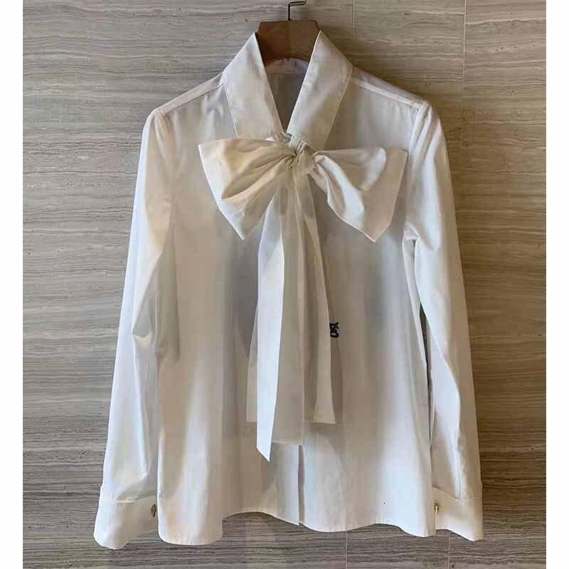 Cosmicchic 2019 femmes nœud Blouse à manches longues or boutons de manchette blanc coton chemise piste Designer bureau Blouse Slim décontracté hauts - 4