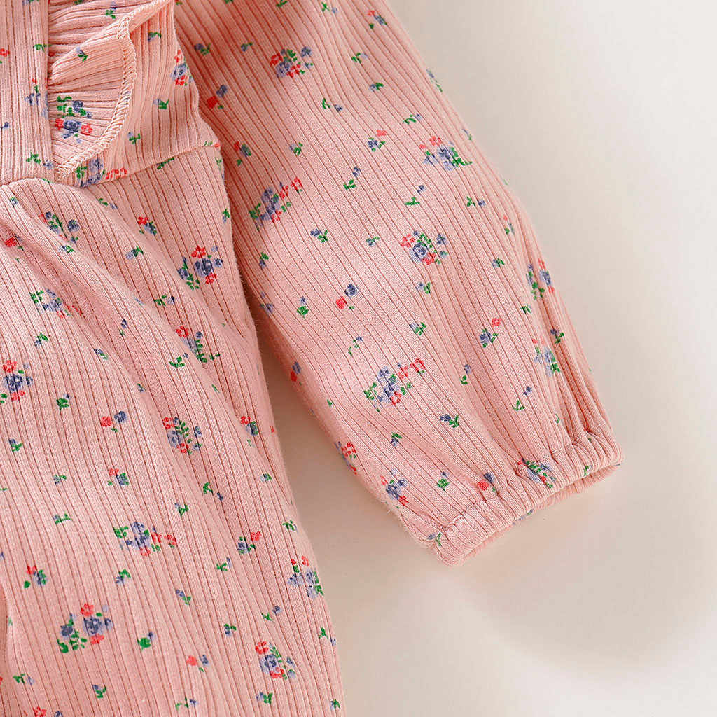 الوليد الطفل كشكش رومبير الرضع بذلة طويلة الأكمام الأزهار طباعة رومبير بذلة الملابس الرضع فتاة الملابس الدافئة بذلة