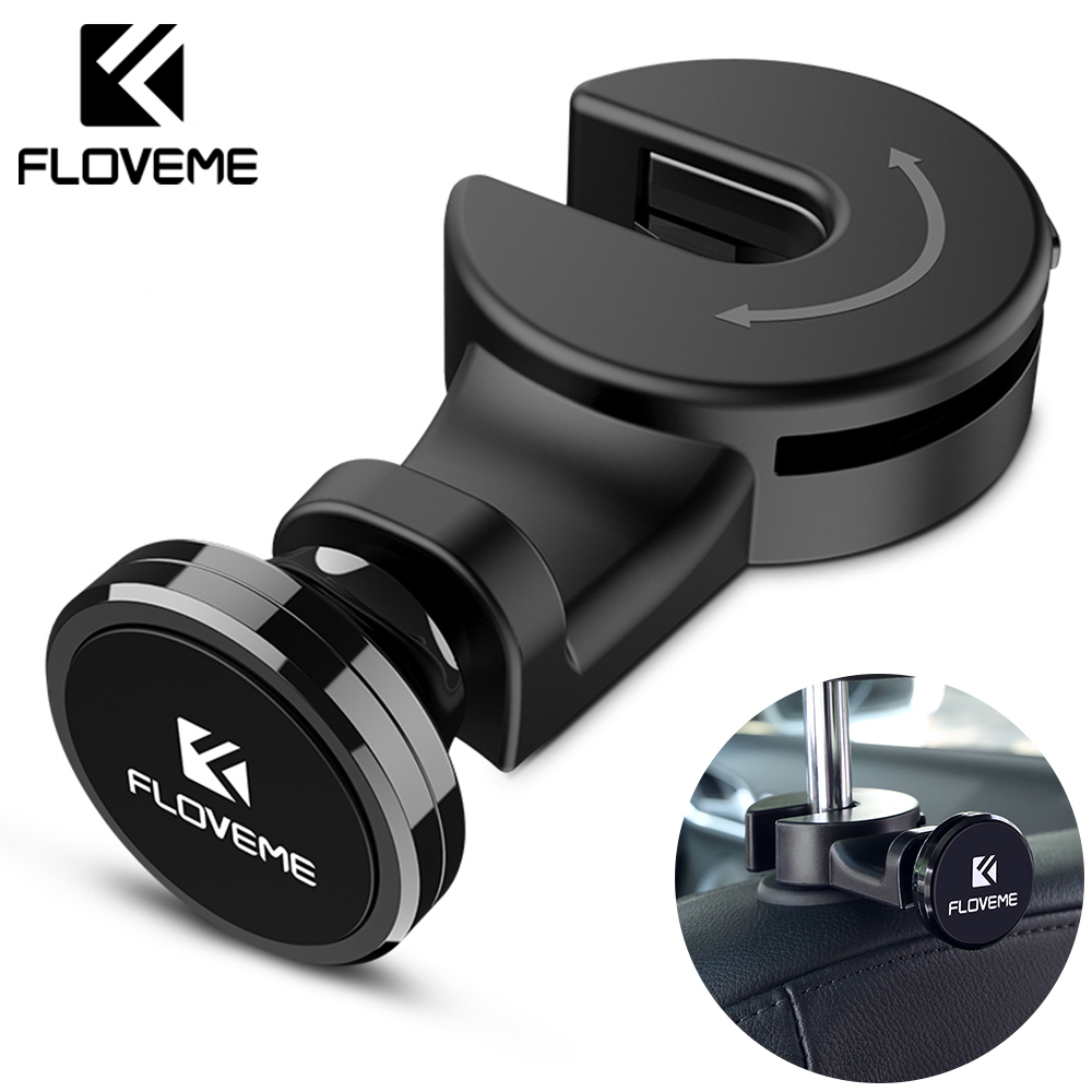 FLOVEME Luxury Magnetic Car Phone Holder Hook Back Seat Headrest Universal For IPhone IPad Magnet Stand Holder Soporte Mount