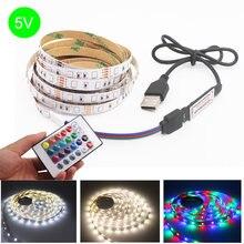 Bande lumineuse Led RGB Flexible, 1M 2M 3M 4M 5M, DC 5 /12 V, bande lumineuse avec télécommande IR, pour la cuisine à domicile, fête de noël