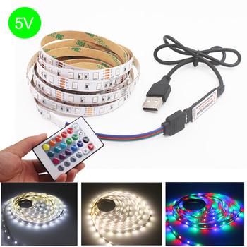 strong Import List strong Taśma LED Light USB SMD 2835 DC5V elastyczna taśma LED taśma wstążka RGB 0 5M 1M 2M 3M 4M 5M ekran pulpitu TV dioda podświetlenia taśmy tanie i dobre opinie CHEAPBANG CN (pochodzenie) Salon 50000 MOTION 2 88 w m Epistar 3000 Smd2835 ROHS 2835 LED lamp Strip RGB LED Strip SMD 2835 3528
