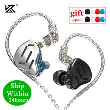 KZ ZAX 7BA 1DD 16 Unit hybrydowy słuchawki douszne metalowe zestaw słuchawkowy hi-fi muzyka Sport KZ ZSX ZS10 PRO AS12 AS16 CA16 C10 PRO VX BA8 DM7