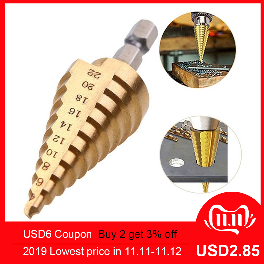 4-22mm High Drill Bit Tool Drill Step Titanium Speed Coated Steel Cone Hole Cutter Hex Drill Bit Herramientas Para Carpinteria