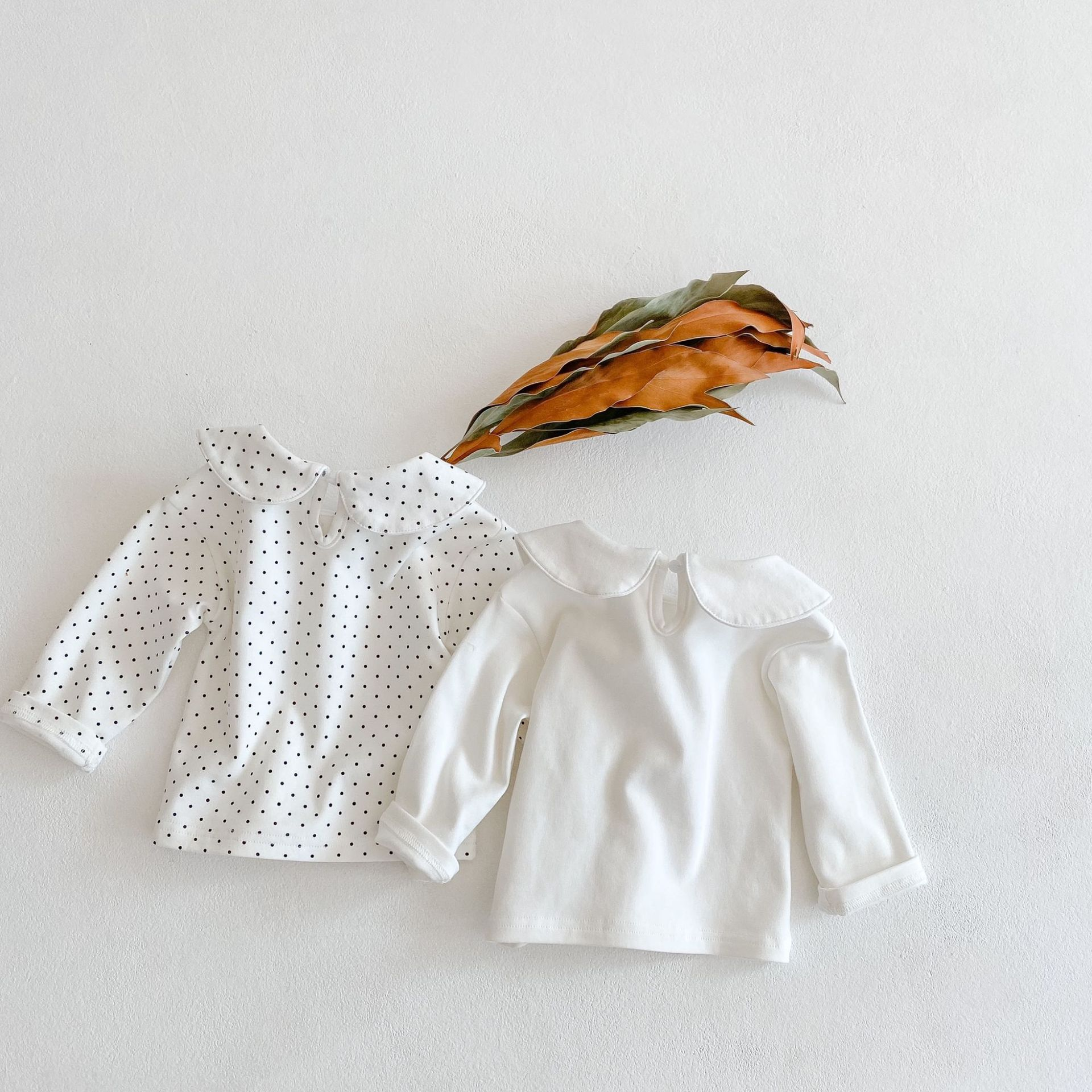 Baby Girls Basic Shirt Long Sleeve Toddler Polka Dot White Tops Spring Autumn 0-3Y