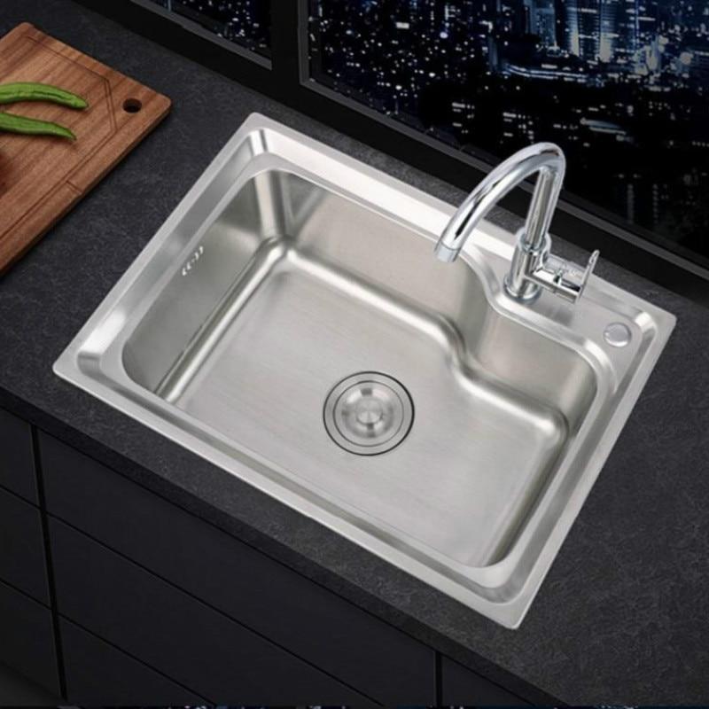 Pia de aço inoxidável pia pia da cozinha única bacia engrossada pia grande único conjunto slot