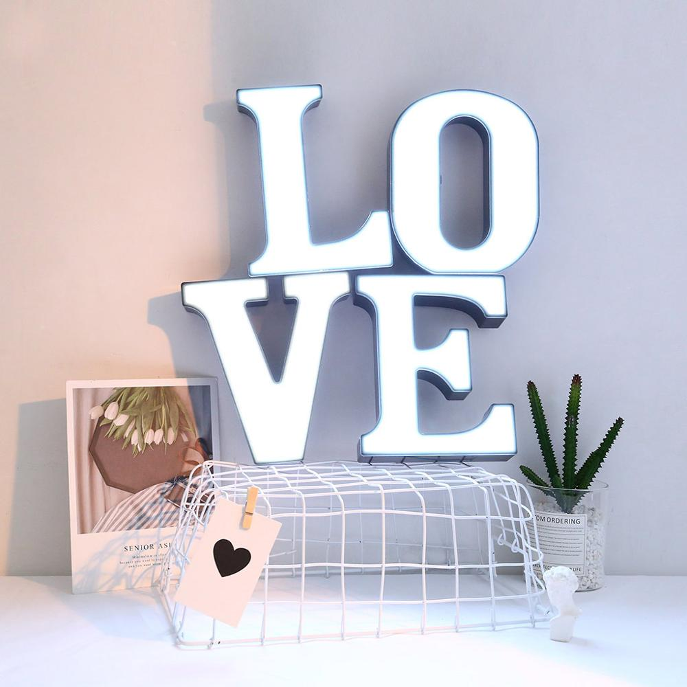 LED 26 Letters Night Lights Alphabet Table-lamps Battery Home Wall Decoration Party Wedding Kids Birthday Valentine's Day Gifts