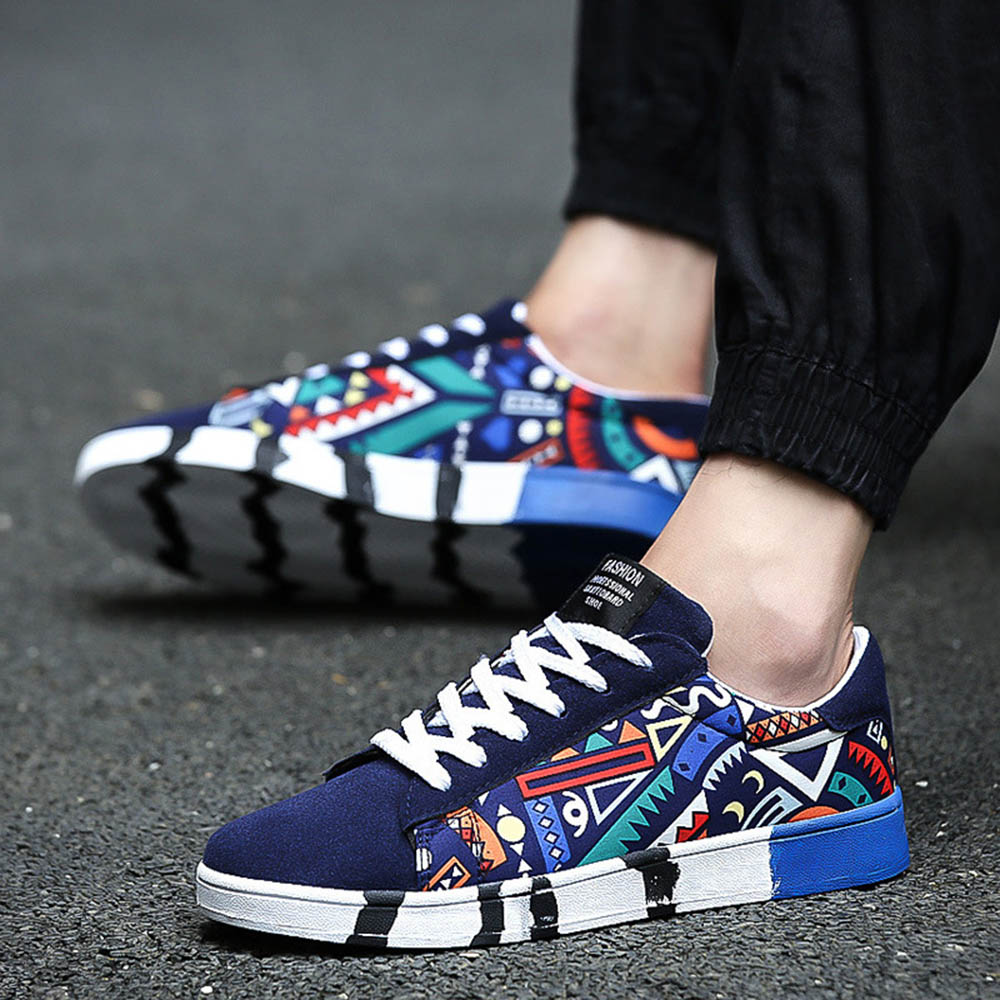 2018 Spring New Men Sneakers Gym Sports Running Shoes Printing Pattern Skateboard Shoes For Students Teens Boy Sneakers BB-35