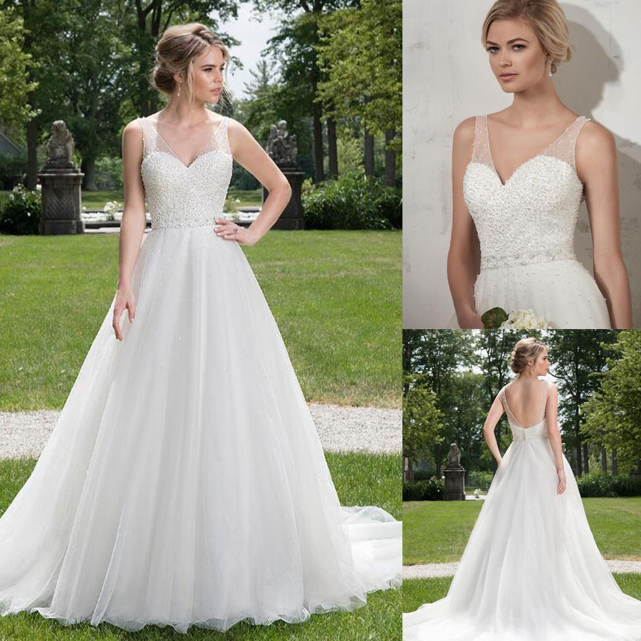 Sparkling Tulle V-neck Neckline A-line Wedding Dress With Full Beading Upper Sequined Backless Button Bridal Dress