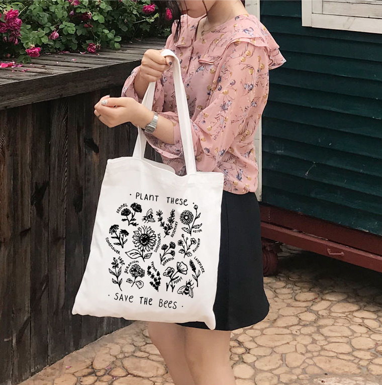 Casual Shoulder Large Capacity Shopping Bag Save The Bee Graphic Girls Hand Bag Women Tote Bag Canvas Cloth Market Bag