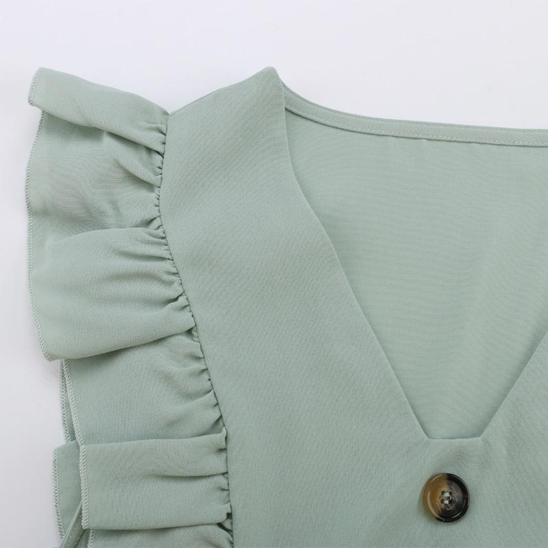 Ruffle Off Shoulder High Waist V Neck Casual Boho Beach Yellow Dress 27