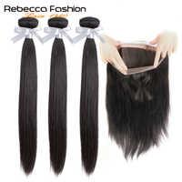 Rebecca 360 Spitze Frontal Mit Bündel Brasilianische Gerade Haar 3 Bundles Mit 360 Frontal Verschluss Remy Menschliches Haar Extensions