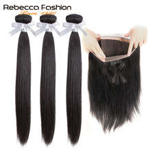Rebecca 360 Lace Frontal With Bundle Brazilian Straight Hair 3 Bundles With 360 Frontal Closure Remy Human Hair Extensions(China)