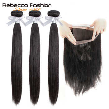 Rebecca 360 Lace Frontal With Bundle Brazilian Straight Hair 3 Bundles With 360 Frontal Closure Remy Human Hair Extensions - DISCOUNT ITEM  50% OFF All Category
