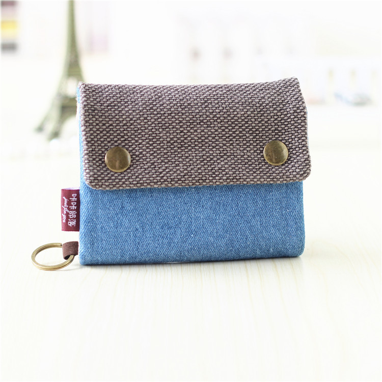 2019 Women Wallets Large Capacity Gray Blue Ladies Denim Multi-function Wallet Mini Carteira Cotton Fabric Short Wallet