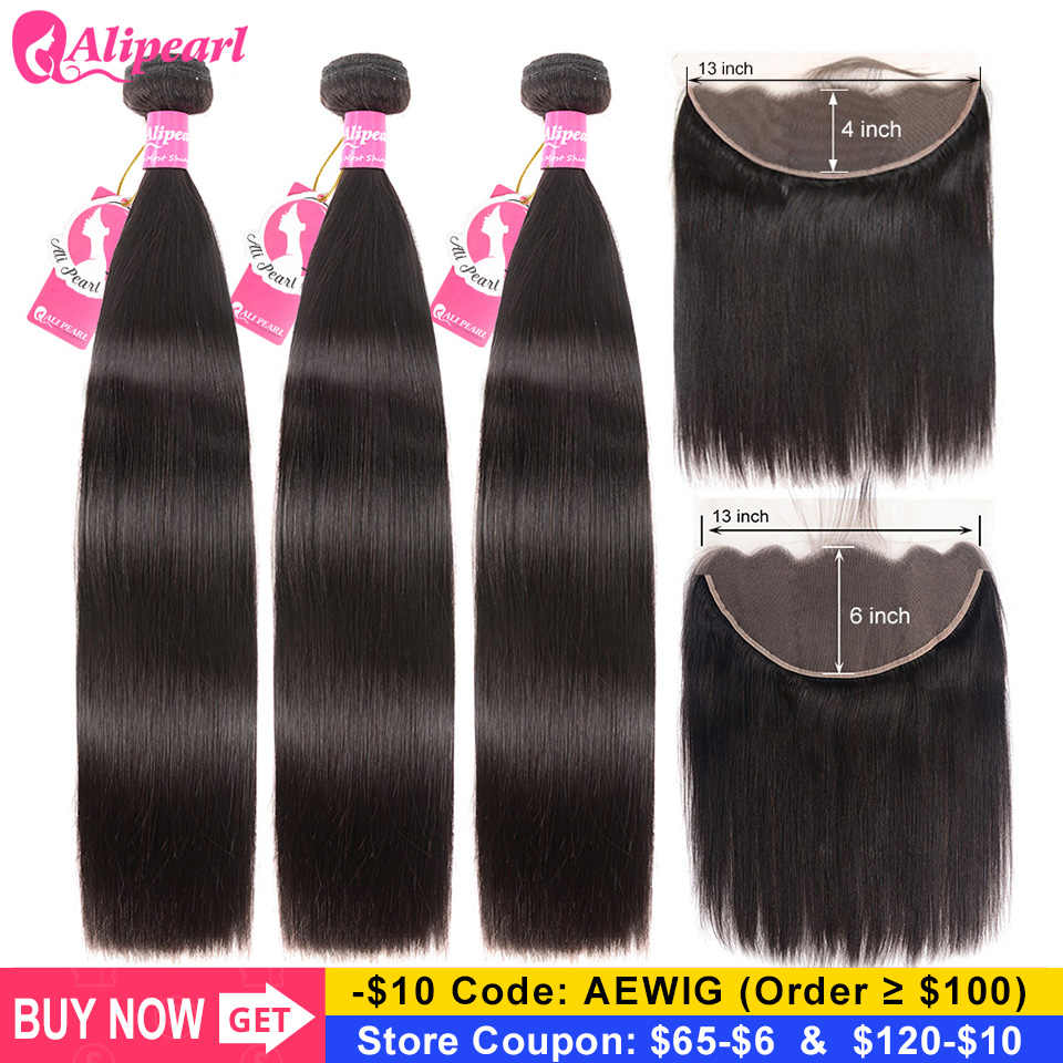 Ali Pearl Brazilian Straight Human Hair Bundles With 13x4 Lace Frontal PrePlucked 13x6 Lace Frontal With 3 Bundles AliPearl Hair