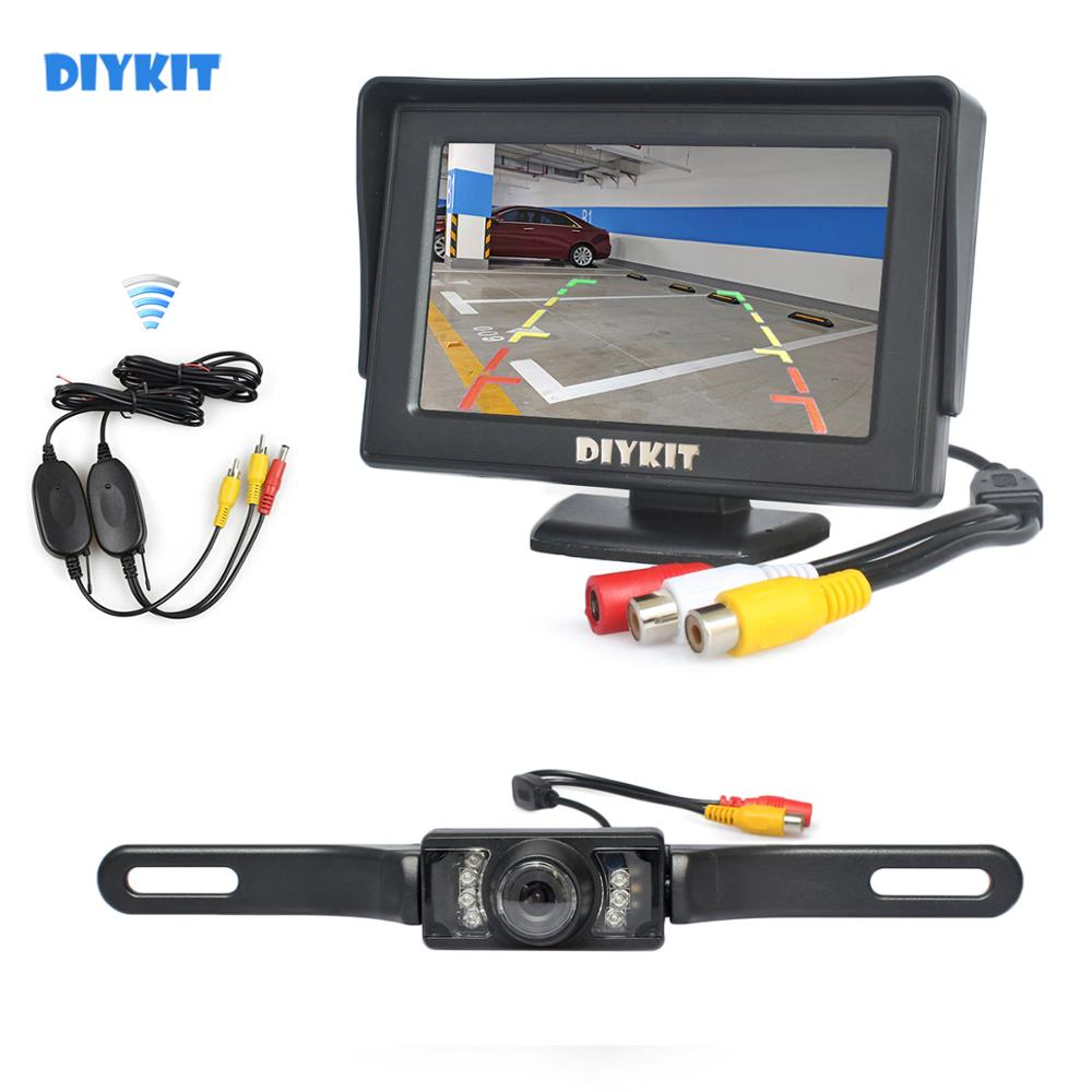 DIYKIT <font><b>4.3</b></font> <font><b>Inch</b></font> Color TFT LCD Car <font><b>Monitor</b></font> + IR Night Vision HD Rear View Car Camera Wireless Parking Assistance System image