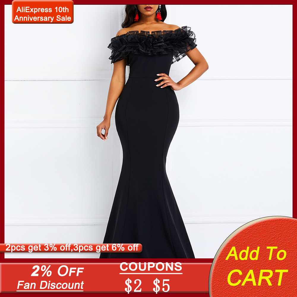 Sexy Off Shoulder Long Evening Party Dress Women Blue Bodycon Mermaid  Prom Dresse Maxi African 2020 Summer Red Elegant Dresses