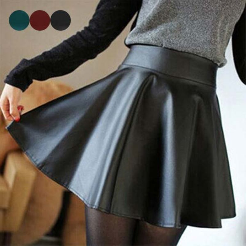 2019 New Women High Waist Faux PU Leather Skater Mini Skirt Solid Color Sexy Short Pleated Pleated Stretch Mini Skirt HD88
