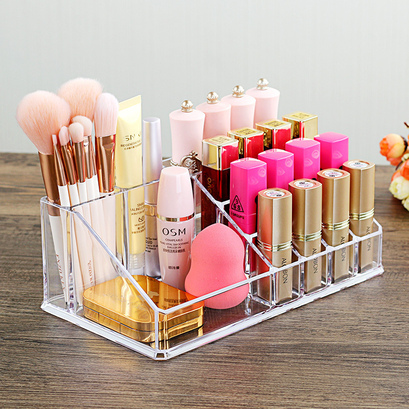 19 Lattices Acrylic Makeup Organizer For Cosmetics Containers Lipstick Storage Box Makeup Brush Holder Table Nail Polish Rack