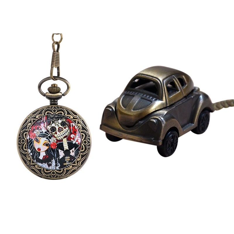 2Pcs Bronze Thick Chain Ghost Bride Retro Pocket Watch Fashion Bride Body Theme Pocket Watch Classic Car Punk Pocket Watch Class
