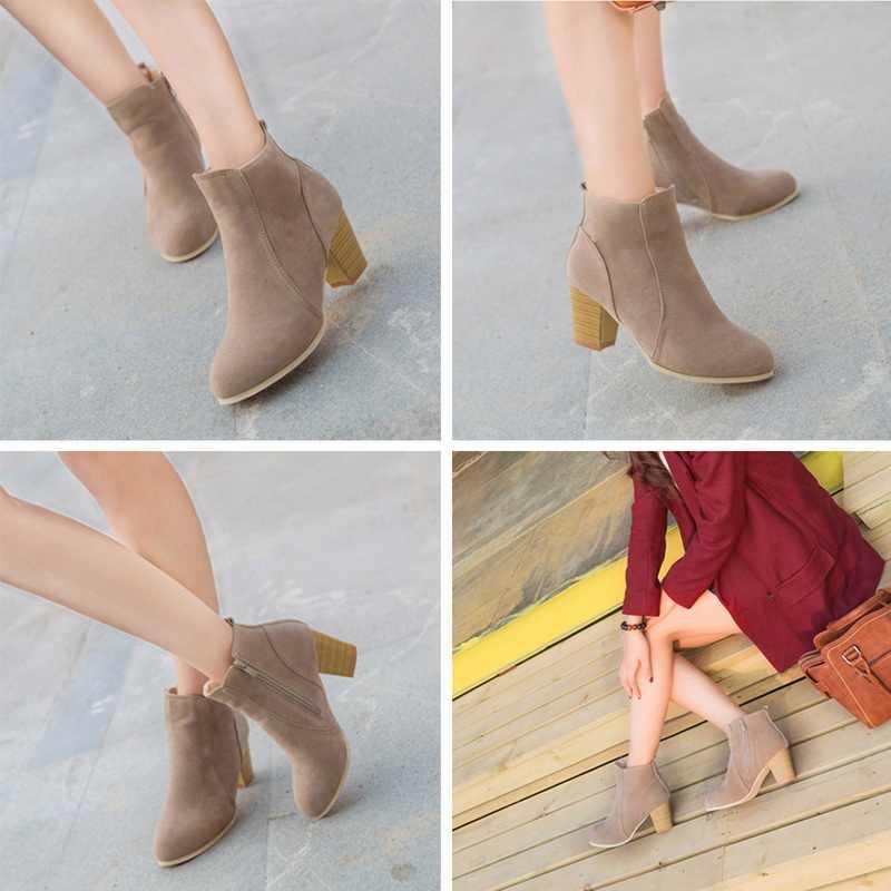 Yarım çizmeler Ayakkabı Kadın Sonbahar Kış Katı Fermuar Bayanlar Çizmeler Zapatos De Mujer Yüksek Topuklu Patik Botines Mujer 2019 Yeni