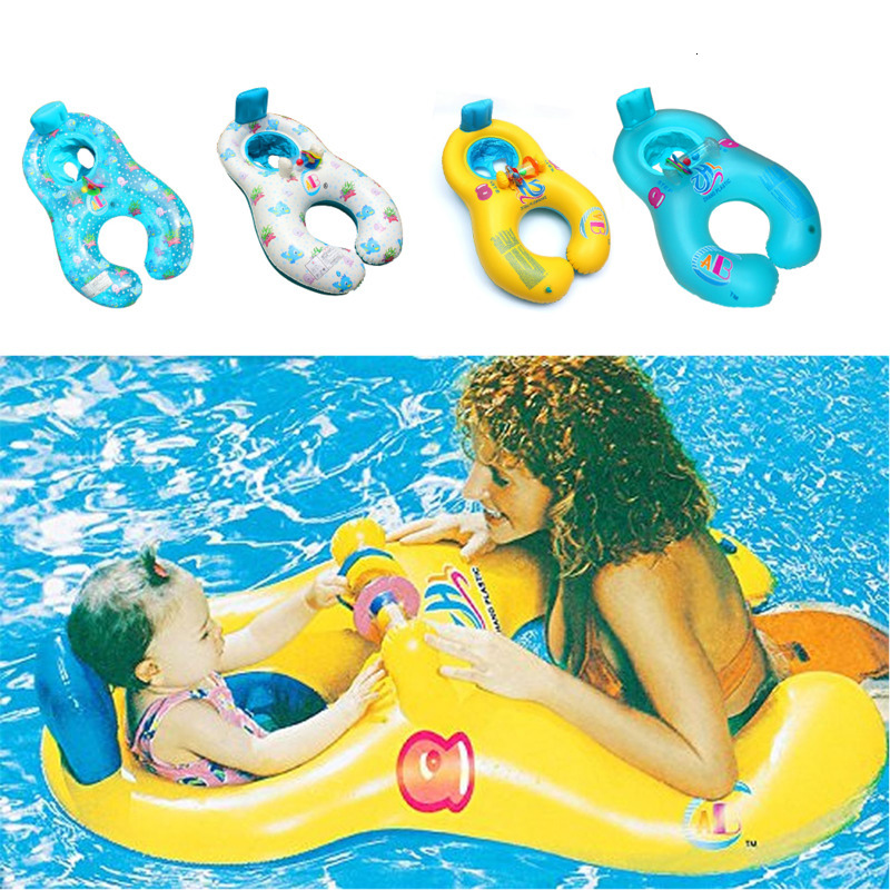 Mother Child Swimming Accessories Baby Float Inflatable Ring Baby Float Double Child Inflatable Wheels Swimming Pool Accessory