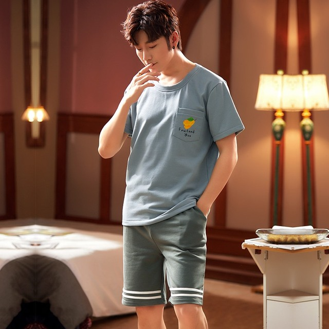 New Short Sleeve Short Pants Sleepwear Man Clothes Pyjamas Man Crew Neck Button Front Pocket Man Pajamas Man Sports Style 5