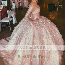 Ball-Gown Prom-Dress Quinceanera-Dresses Rose-Gold Flowers Long-Sleeves Pink Purple Luxury