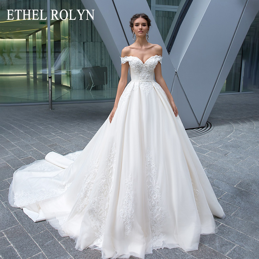 ETHEL ROLYN Sexy Sweetheart Backless Princess Wedding Dress With Sleeve Bride Dresses 2019 Luxury Beaded Appliques Wedding Gowns