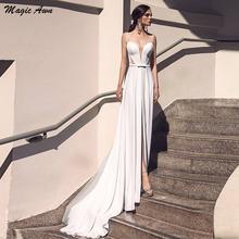 Волшебная ость простой сатин свадебные платья Прозрачная v образным