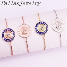 10Pcs Fashion Jewelry Brass Micro Pave CZ Moon Pretty Enamel Round Link Chain Adjustable Bracelet
