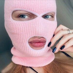 Image 5 - Tam yüz maskesi üç 3 delik Balaclava örgü şapka ordu taktik CS kış kayak bisiklet maskesi bere şapka eşarp sıcak yüz maskeleri
