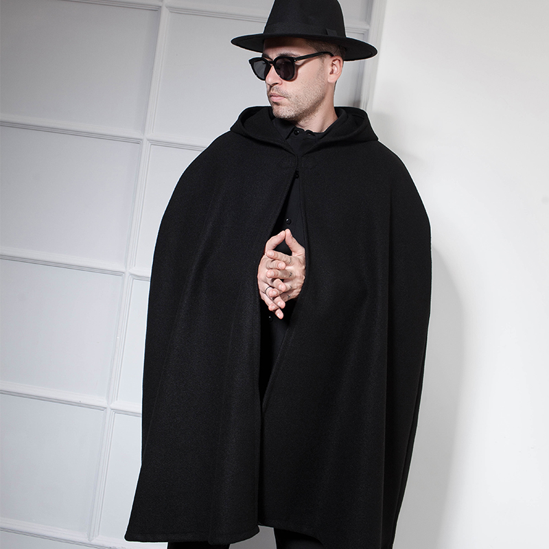 European And American Trendy Men's Nightclub DS Long Black Fringed Hooded Bat Shirt Cape Cloak Male Dark Wizard
