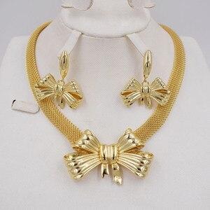 Image 1 - Высокое качество Ltaly 750 золотой цвет комплект ювелирных изделий для женщин африканские бусы ювелирные изделия ожерелье набор серьги ювелирные изделия