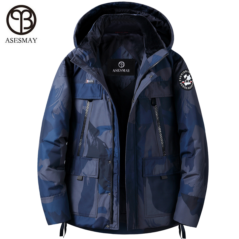 Asesmay 2019 Men's Down Jacket Feather Coats Winter Goose Parka Hooded Camouflage Printed Thick Warm Puffer Jackets Outerwear