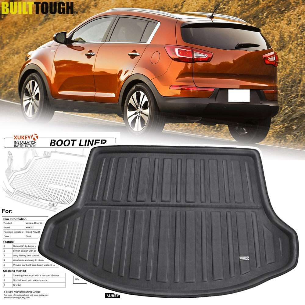 For KIA Sportage 2011 - 2015 Rear Trunk Liner Cargo Boot Mat Floor Tray Protector Carpet Mud Kick Pad 2012 2013 2014 R SL