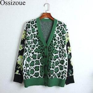 Подиумный свитер для женщин 2020 осенне-зимний Кардиган женский винтажный Леопардовый жаккардовый вязаный Свободное пальто Повседневная Дл...