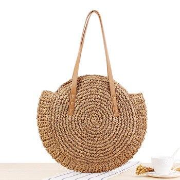 Bolsos redondos de paja del verano 2020 para las mujeres bolso de mimbre bolso hecho a mano tejido bandolera de playa bolso del mensaje femenino bolsos