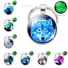 Glow in Dark Jewelry Howling Wolf Keychain Luminous Glass Cabochon Pendant Keyring for Boyfriend Gifts