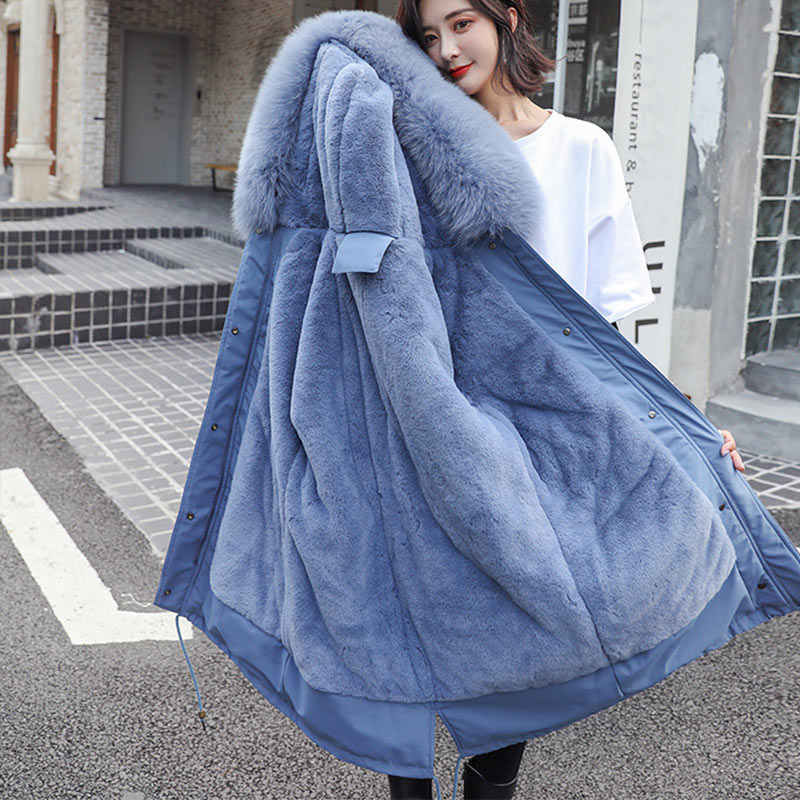 Velvet Thicken Faux Fur Long Parka Coat For Women New Winter Warm Cotton Padded Jacket Female Parkas Pocket Woman Outwear